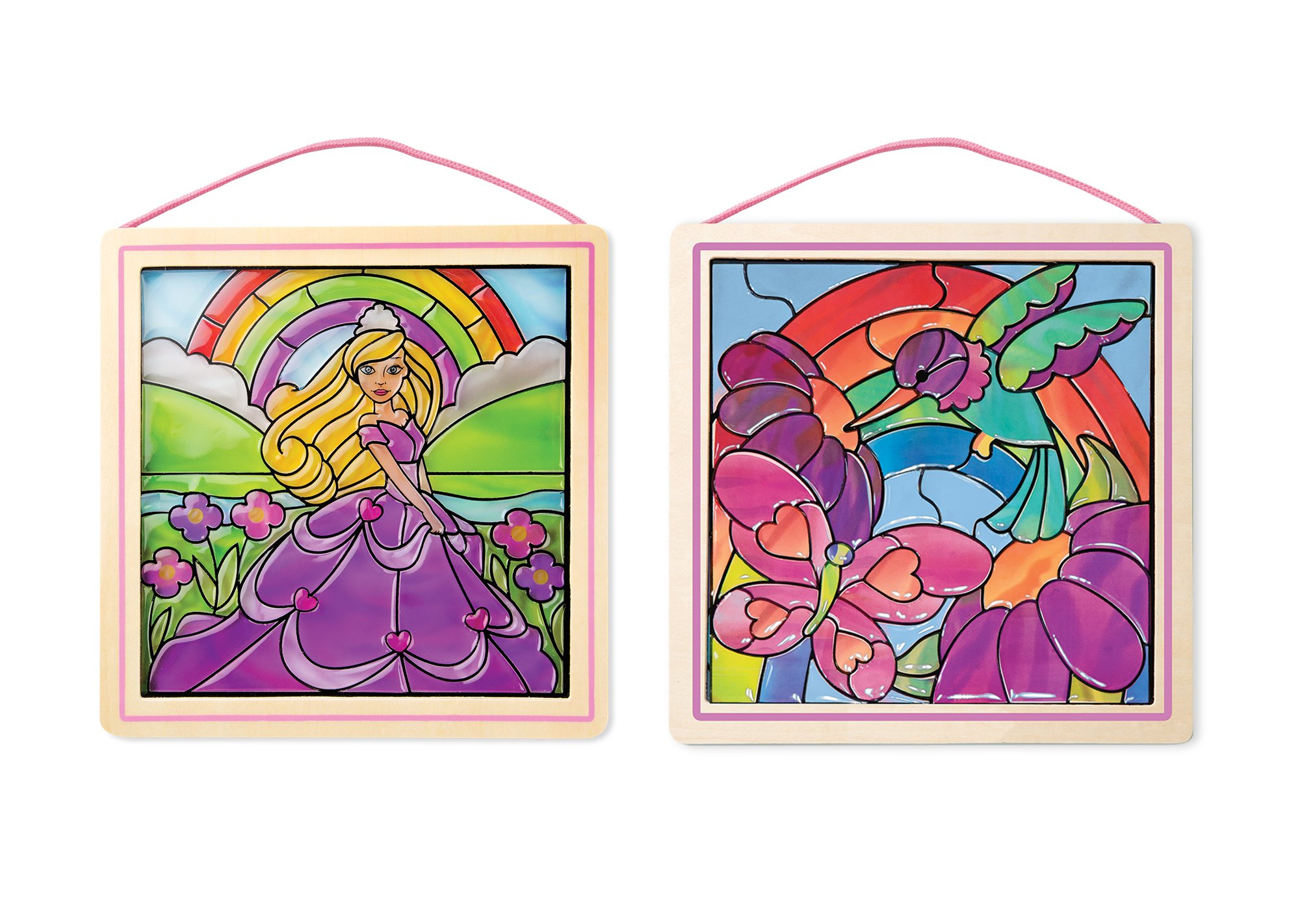 Melissa & Doug Stained Glass Made Easy Activity Kits Set - Rainbow Garden and Princess