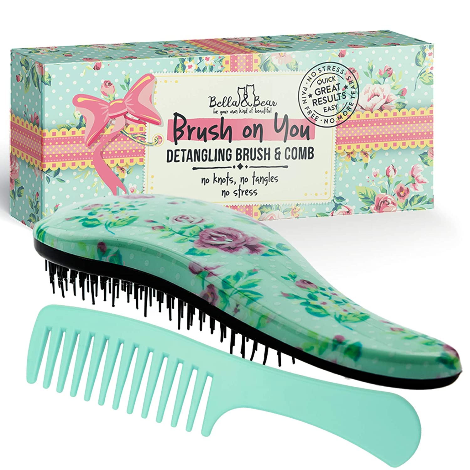 Amazon Com Detangling Hair Brush And Comb Set The Best Detangler Brush For Wet Or Dry Hair No More Tangles No More Tears By Bella Bear Beauty