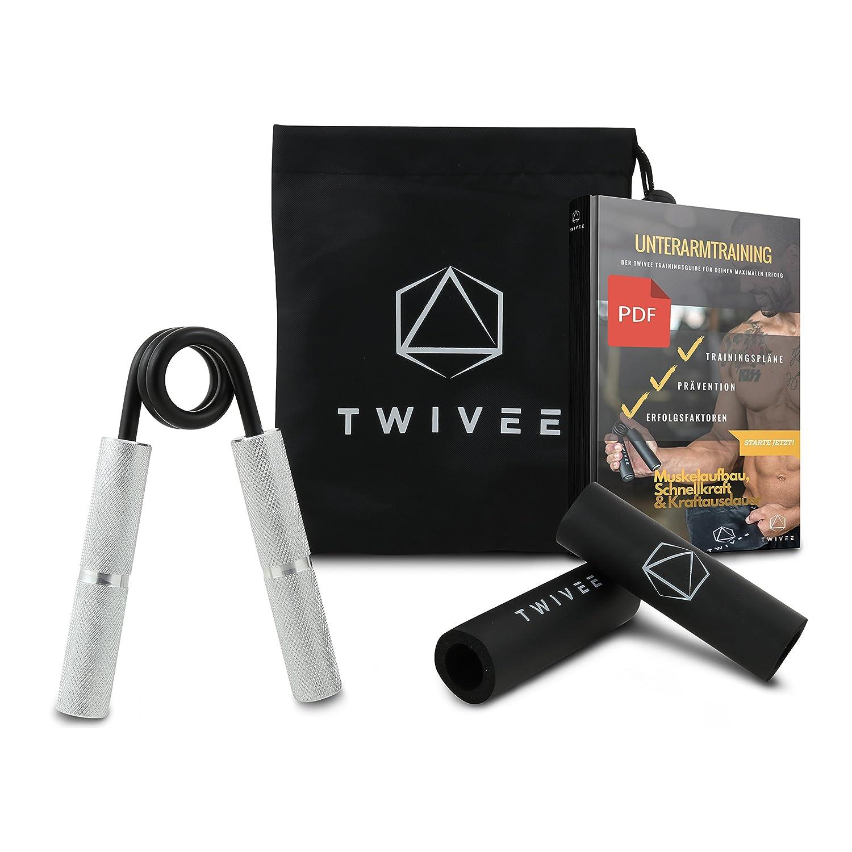 Mancuerna para dedos Twivee (para una máxima fuerza de agarre), entrenamiento de antebrazo con mango acolchado y funda, agarre de acero endurecido y ...