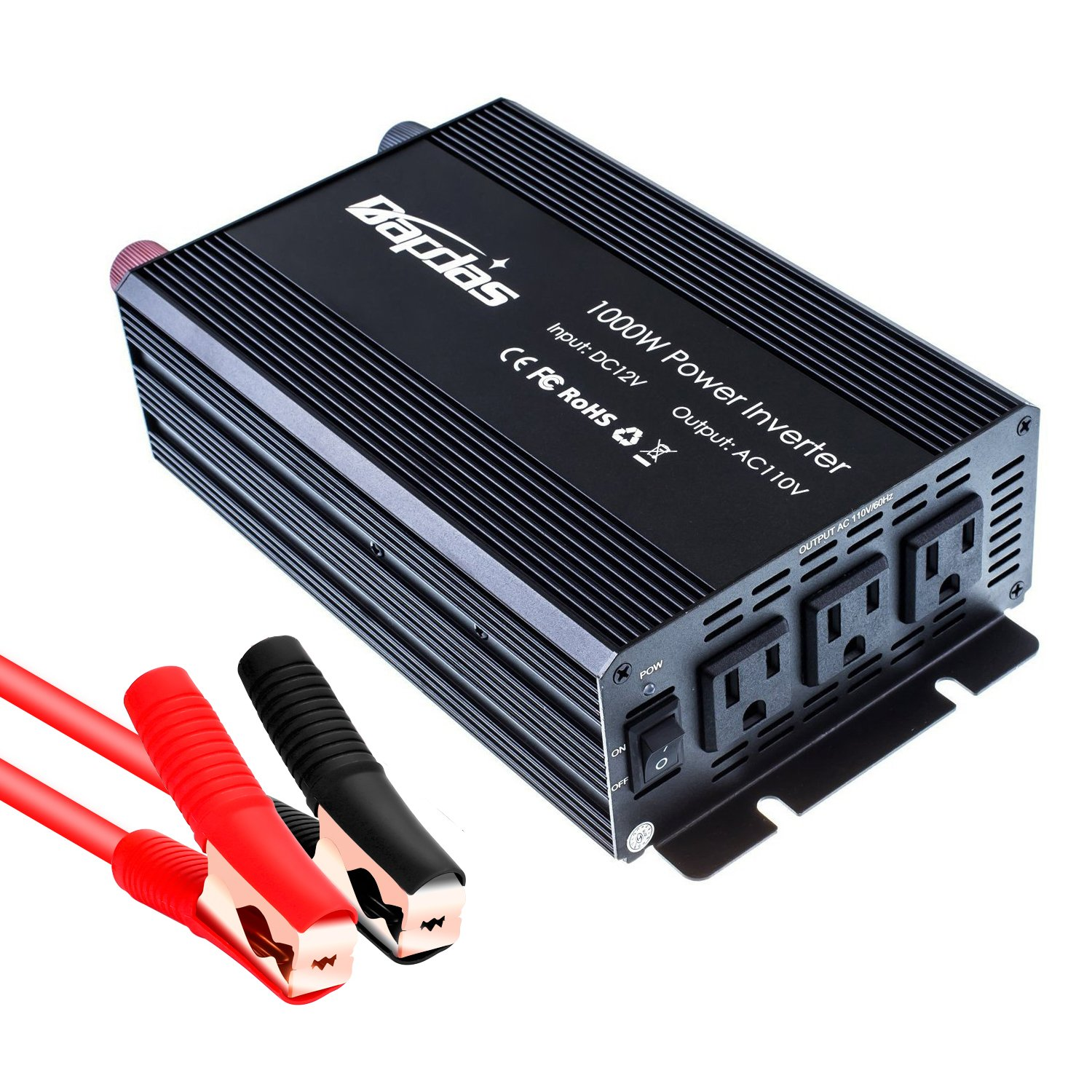 Bapdas 1000W Power Inverter DC 12V to 110V AC Converter with 3 AC Outlets for Household Appliances in case Emergency, Hurricane, Storm and Outage-Black