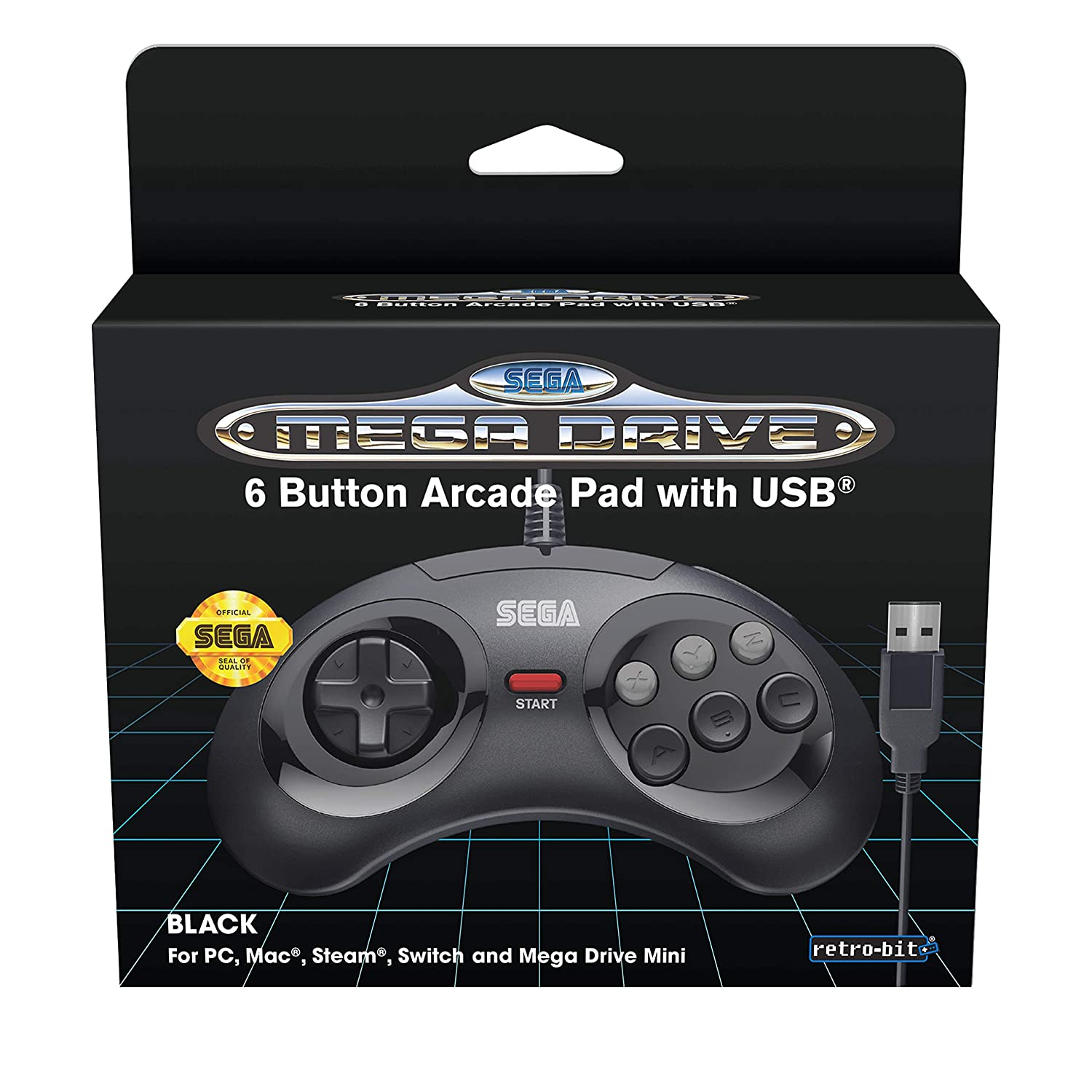 Retro-Bit Official SEGA Mega Drive USB 6-Button Controller for MEGA DRIVE MINI CONSOLE, PC, Switch, Mac, Steam, RetroPie, Raspberry Pi - Black (Nintendo Switch///)