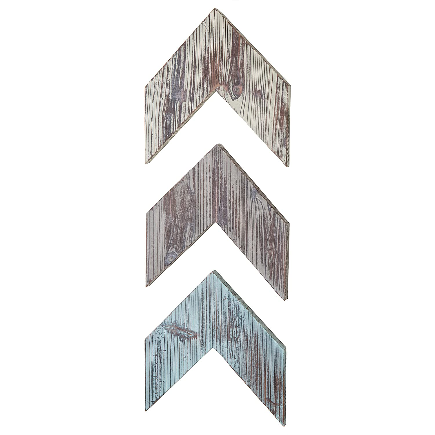 MyGift Wall-Mounted Decorative Torched Wood Arrowhead Chevrons Set of 3
