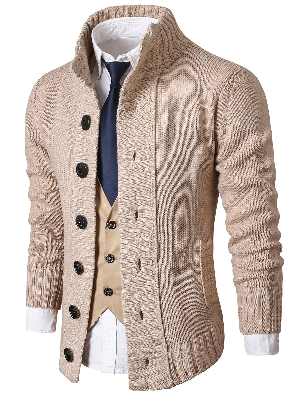 314ee16973 MIEDEON Mens Casual Stand Collar Cable Knitted Button Down Cardigan Sweater  (S Beige2)  Amazon.com.au  Fashion