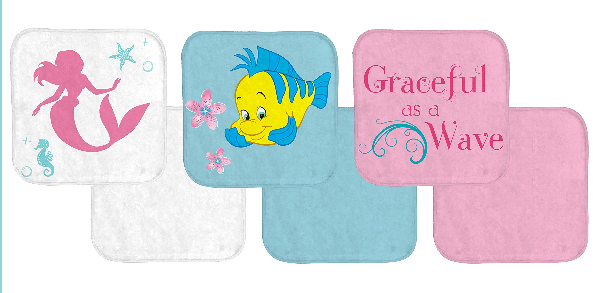 Disney Little Mermaid Ariel 6 Piece 100% Cotton Washcloth Set
