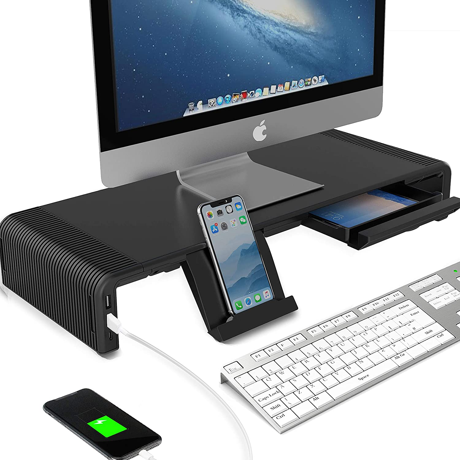 Monitor Riser Stand and Desk Storage Organizer, 2 USB 3.0 & Type-C Ports Computer Stand Support Transfer Data, Charging with Storage Drawer, Phone Holder for Different Size Laptop/Computer/MacBook/PC