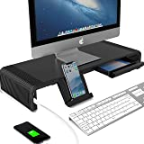 Monitor Riser Stand and Desk Storage Organizer, 2 USB 3.0 & Type-C Ports Computer Stand Support Transfer Data, Charging…