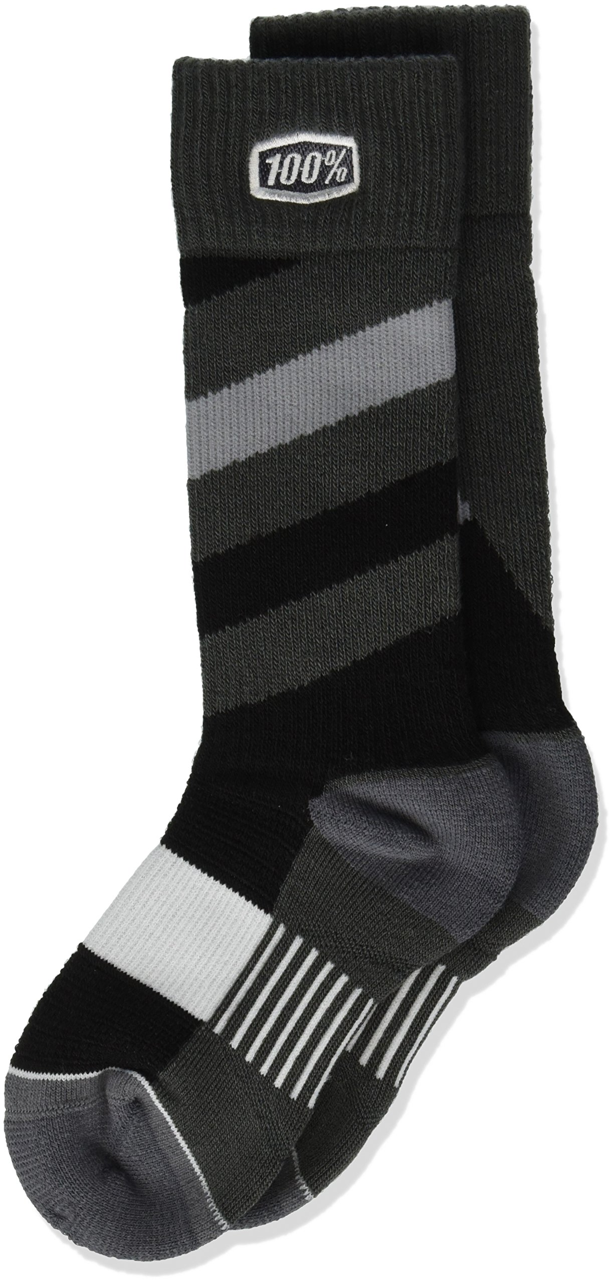 100% 24107-001-17 Unisex-Child Youth Torque 8'' Mid-Calf Riding Socks (Black,Small/Medium)