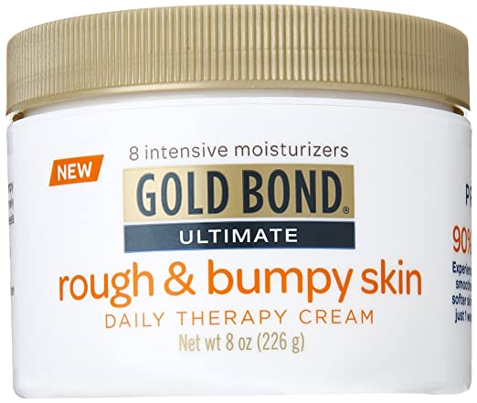 About the product DAILY MOISTURIZING THERAPY FOR ROUGH SKIN: Rough, bumpy skin can be hard to care for and difficult to moisturize. When used as part of your daily skin care routine, Rough & Bumpy Skin Cream can help to smooth, soften, and reduce the appearance of bumps. SMOOTHS & SOFTENS ROUGH SKIN: Gold Bond's Rough & Bumpy Daily Skin Therapy helps skin feel & look smoother & softer. Great for thighs, back of arms, back, & buttocks. It may help reduce the appearance & roughness associated with KP (Keratosis Pilaris). GOLD BOND SKIN CARE: Gold Bond is known not just for powder, but for a variety of medicated & non-medicated body powders, skin creams, & ointments. Since 1908, Gold Bond Powder has been providing comfort, soothing relief, & skincare to adults & children. A WELL ROUNDED MEDICINE CABINET: When you or a family member is in pain, sick, hurt, or just generally feeling under the weather, you don't want to run to the pharmacy. A well stocked home medicine cabinet helps ensure relief is at hand when you need it. COMPARE TO OTHER POWDERS & CREAMS: Compare to products from brands like Mexsana, Caldesene, Assured Body Powder, Johnson's, Ammens, Salubrex, Puriya, Terrasil, Thena, Theraworx, Flexitol, Skin Clinical, CeraVe, Honeyskin, Baebody, Aquaphor, & Dermarest.