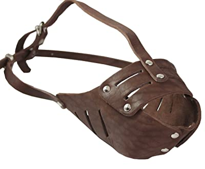 Real Leather Cage Basket Secure Dog Muzzle #118 Brown