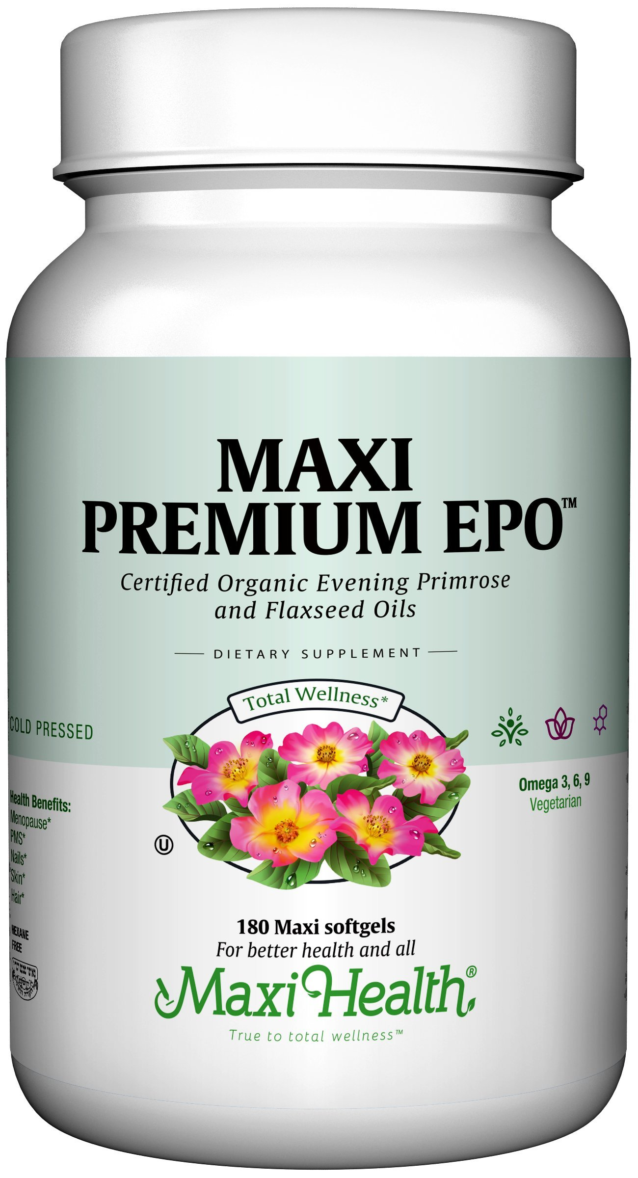 Maxi Health Premium EPO - Evening Primrose with Flax Seed Oil - with Omega-3-180 Softgels - Kosher