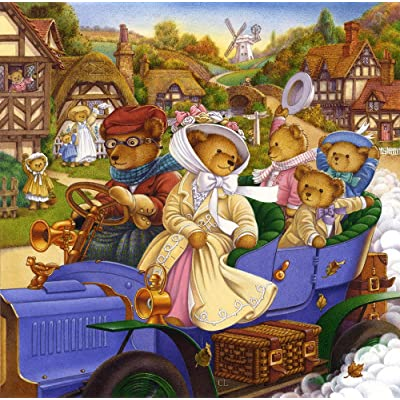 The Jigsaw Puzzle Factory Country Bears, Bear Family Harvest & Tea Party Puzzle Games for Adults and Kids Ages 12 and Up, 300 Piece, Made in The USA: Toys & Games
