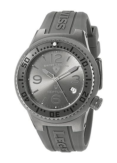 Swiss Legend Neptune Reloj de hombre cuarzo suizo 44mm correa y caja de silicona 11044P-GM-018B-WC: Amazon.es: Relojes