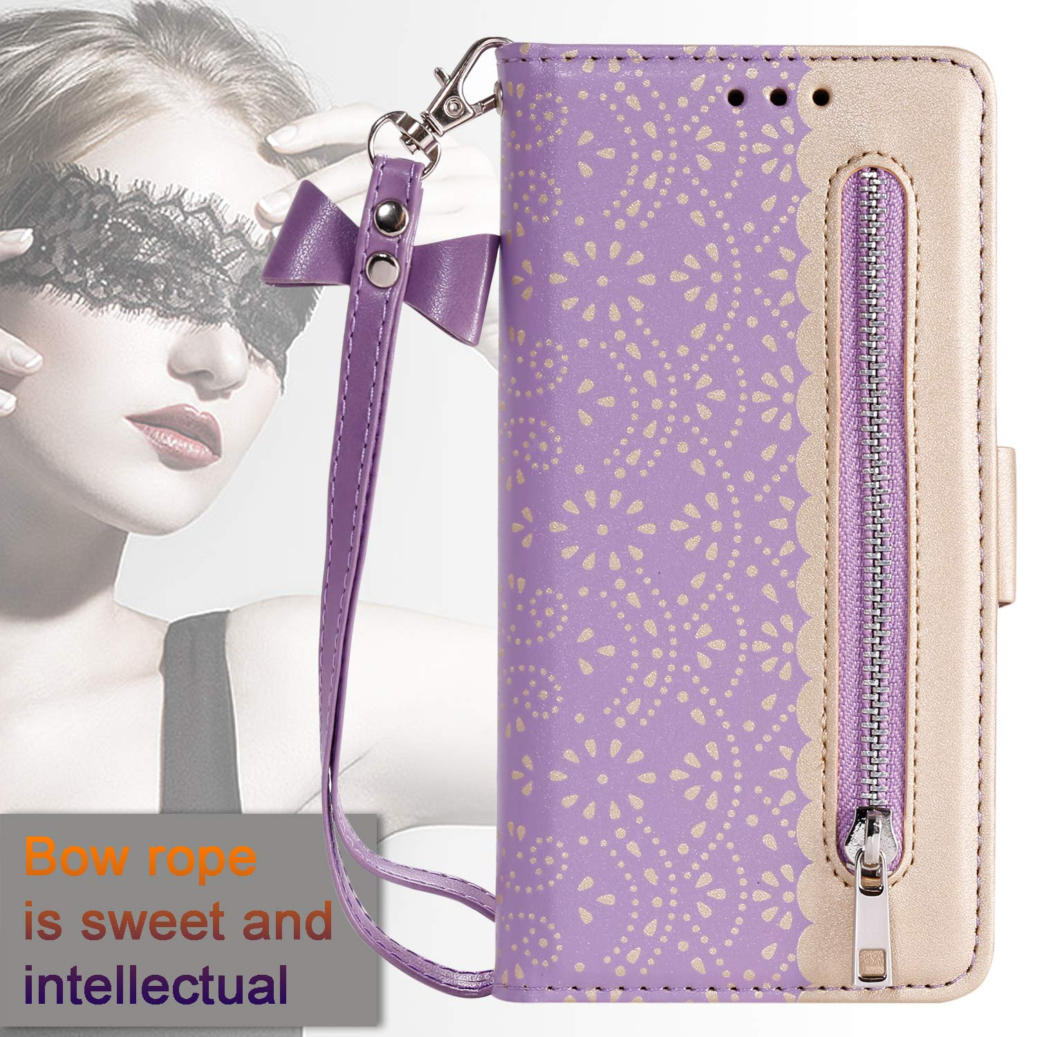 Tznzxm Galaxy Note 10 5G Case, Luxury Lace Design PU Leather Magnetic Zipper Wallet Protective Flip Kickstand Cover with Credit Card Slots Butterfly Clasp Wrist Wallet for Samsung Note 10 5G Purple by Tznzxm