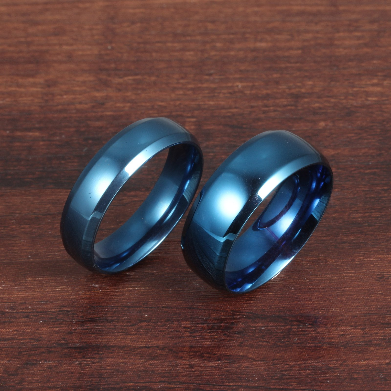 Fate Love Stainless Steel Our Love Pure as The Sea Noble Ocean Blue Couple Rings Wedding Band,New Box by Fate Love (Image #4)