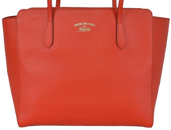 Gucci mujer piel de textura, tamaño mediano, color rojo logotipo de marca Swing Tote Bolso: Amazon.es: Zapatos y complementos