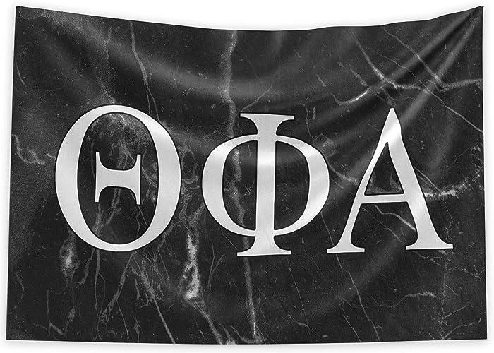 Pro-Graphx Theta Phi Alpha Greek Sorority & Fraternity Flag Officially Licensed, Tapestry, Display Banner, Sign, Letter Pattern Large Decor - 3 feet x 5 feet - Black Marble
