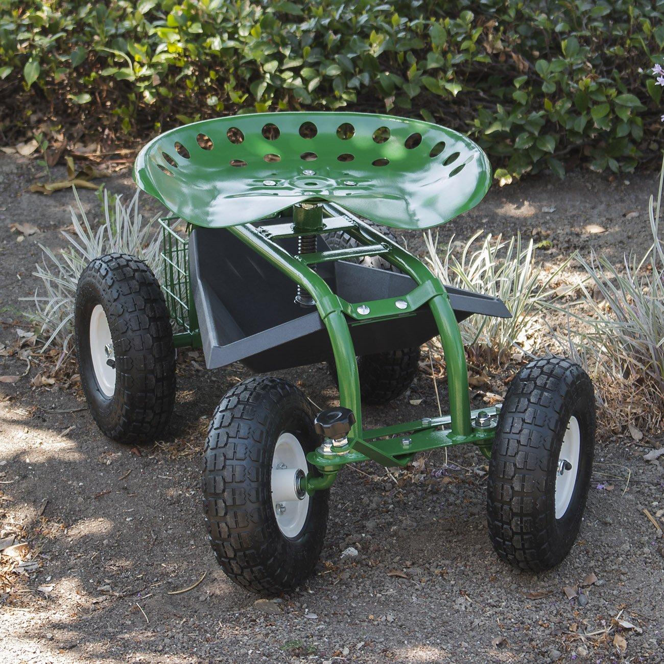 ARKSEN Rolling Garden Cart Backyard Adjustable Seat Swivel, Basket w/ Steering Handle Green