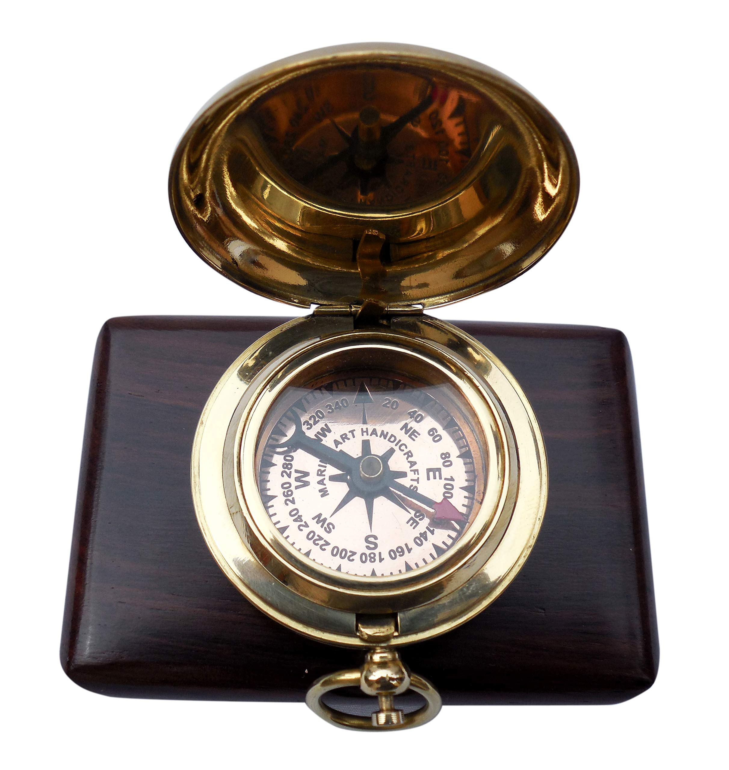MAH Handmade Brass Push Button Engravable Direction Pocket Compass. C-3191
