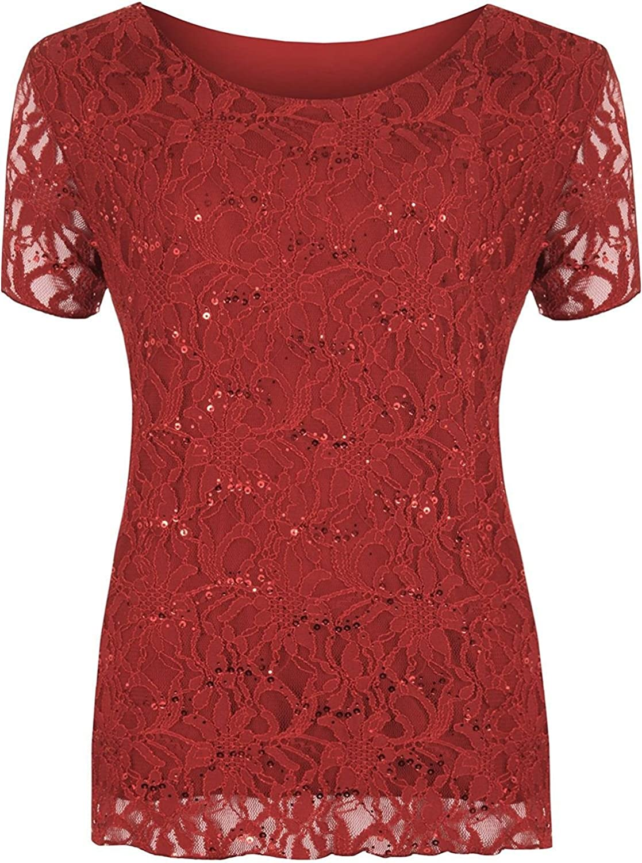 Rimi Hanger Womens Sequin Floral Lace Pattern Top Shirt