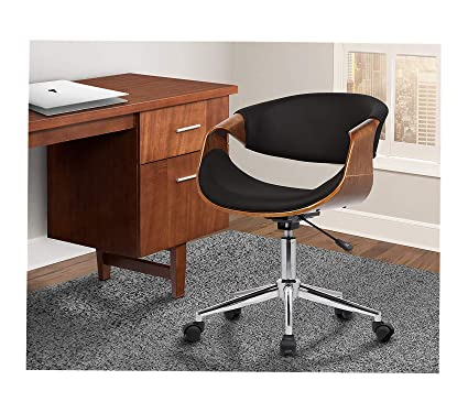 8ef35377fc Image Unavailable. Image not available for. Color  Аrmеn Living Office Home  Furniture Premium Geneva Office Chair in Black Faux Leather and Chrome  Finish