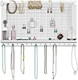 Rustic Jewelry Organizer – Wall Mounted Jewelry Holder Organizer with Removable Bracelet Rod and 16 Hooks – Perfect…