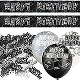 Unique BPWFA-4185 Glitz Happy Birthday Foil Banner Party Decoration Kit, Black