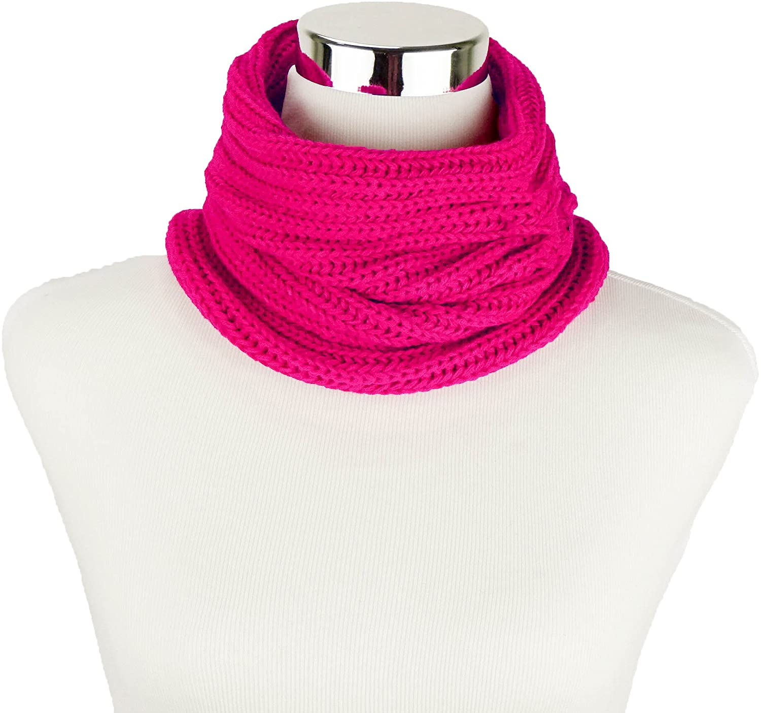 Fuchsia Women's Knitted Infinity Scarf Cowl by Sweet in the City
