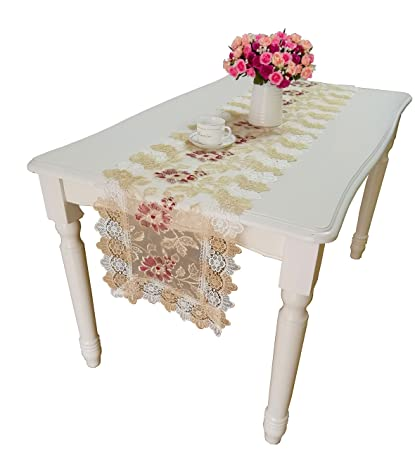 QXFSMILE Beige Lace Table Runners Exquisite Embroidered Table Flag 16 By 120  Inch