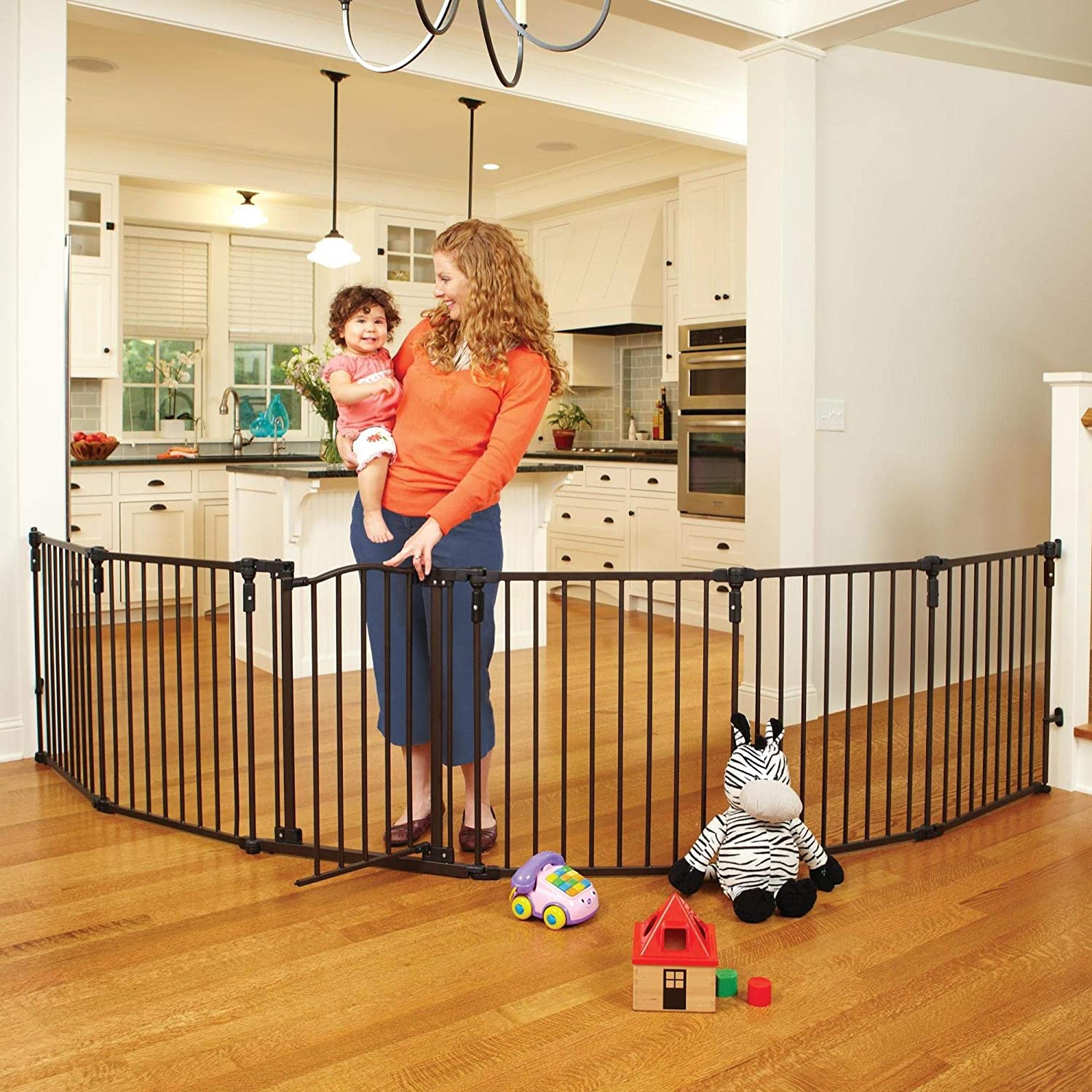 North States 3-in-1 Arched D cor Metal Superyard – 144 Long Play Yard Create an extra-wide gate or a play yard. Hardware mount or freestanding. 6 panels, 10 sq.ft. enclosure 30 tall, Matte bronze