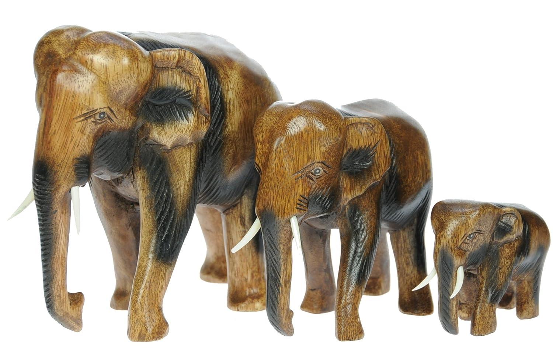 Namesakes Elefanten (x3) - Holzornamente - Handgeschnitzt aus Holz - Figuren - Skulpturen - Schöne Schnitzereien - Größe Höhe 8.5, 19, 24cm