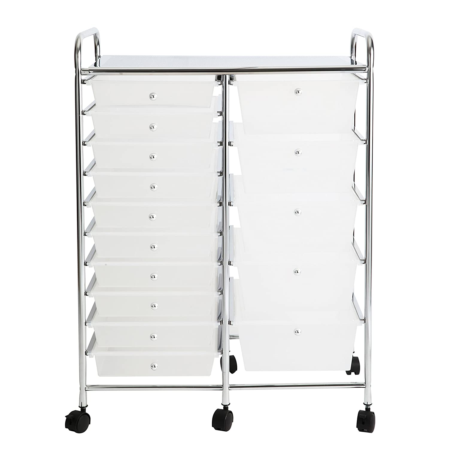 Finnhomy 15Drawer Rolling Cart Organizer,Storage Cart With Drawers, Utility  Cart For School,