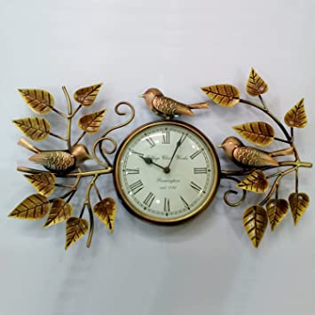 Buy Wall Clock Cute Sparrows and leaves brass and copper finished