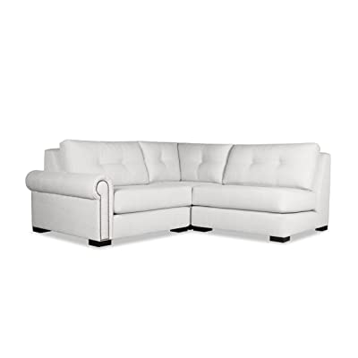 South Cone Home Chelsea Buttoned Modular Sectional Left Arm L-Shape Mini, White