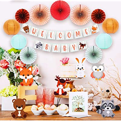 VANYUC CREATIONS Woodland Baby Shower Decorations - Welcome Banner for Boy or Girl| Gender Neutral Theme Party Supplies| Rustic Forest Decor Kit| Fox| Bear| Animal Creatures Set| Paper Fans| Unique Keepsake Guest Book Registr