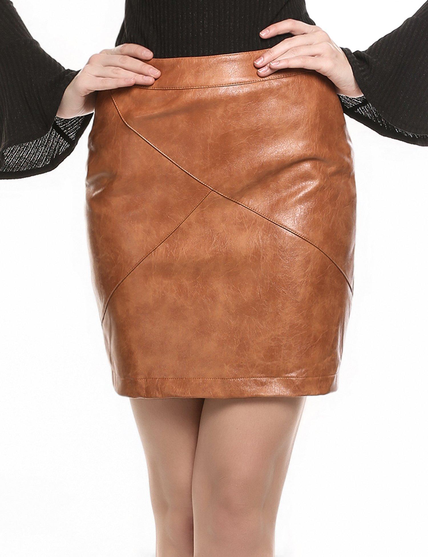 Zeagoo Women Basic Versatile Faux Leather Bodycon Slim High Waisted Pencil Skirts Wheat S