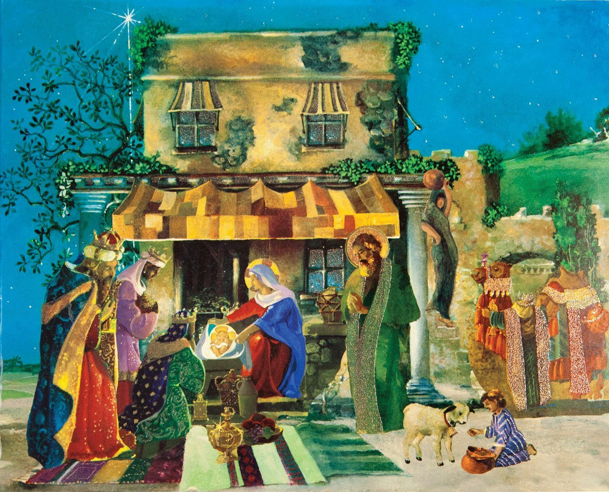 Entertaining with Caspari Christmas Pop-Up Advent Calendar, Nativity Scene