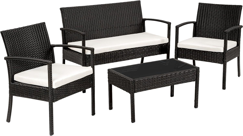 Conjunto muebles de Jardín en Poly Ratan Sintetico - negro 4 plazas, 2 sillones, 1 mesa baja, 1 banco - disponible en diferentes colores -...