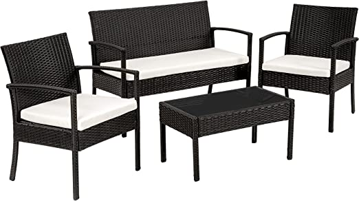 TecTake Conjunto muebles de Jardín en Poly Ratan Sintetico - negro ...