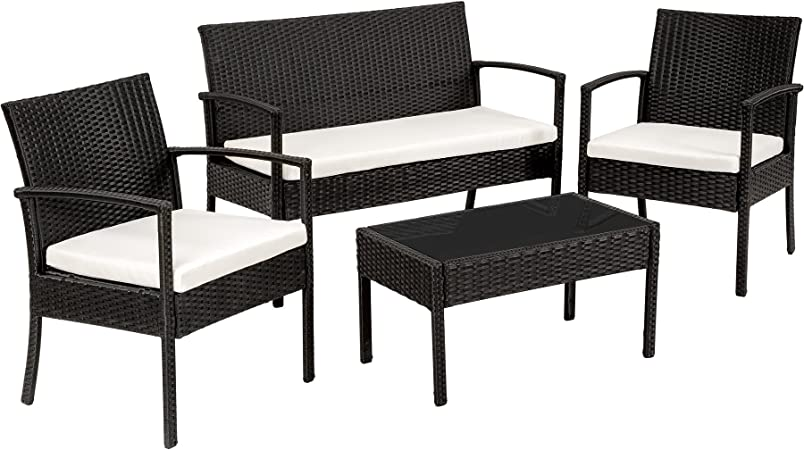 TecTake Conjunto muebles de Jardín en Poly Ratan Sintetico - negro 4 plazas, 2 sillones, 1 mesa baja, 1 banco - disponible en diferentes colores - (Negro): Amazon.es: Hogar