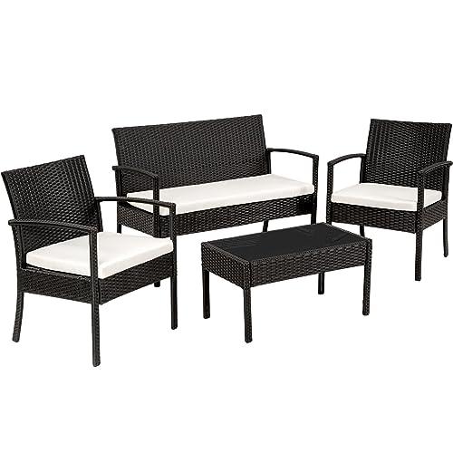 TecTake Salon de jardin Table de jardin en resine tressee chaises salon d'exterieur poly rotin - diverses couleurs au choix - (Noir)
