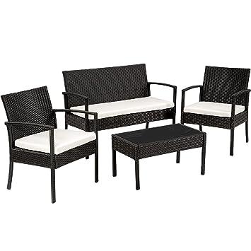 TecTake Salon de jardin Table de jardin en resine tressee chaises ...