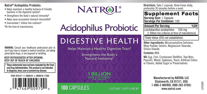 Natrol Acidophilus Probiotic Standard - 100 Cápsulas: Amazon.es: Salud y cuidado personal