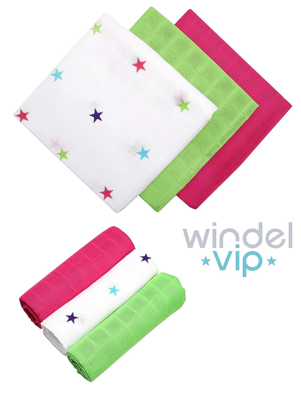 Stars//pink Windel VIP Stoffwindel Mullt/ücher 3 St/ück /Öko-Tex 100 Premium Qualit/ät
