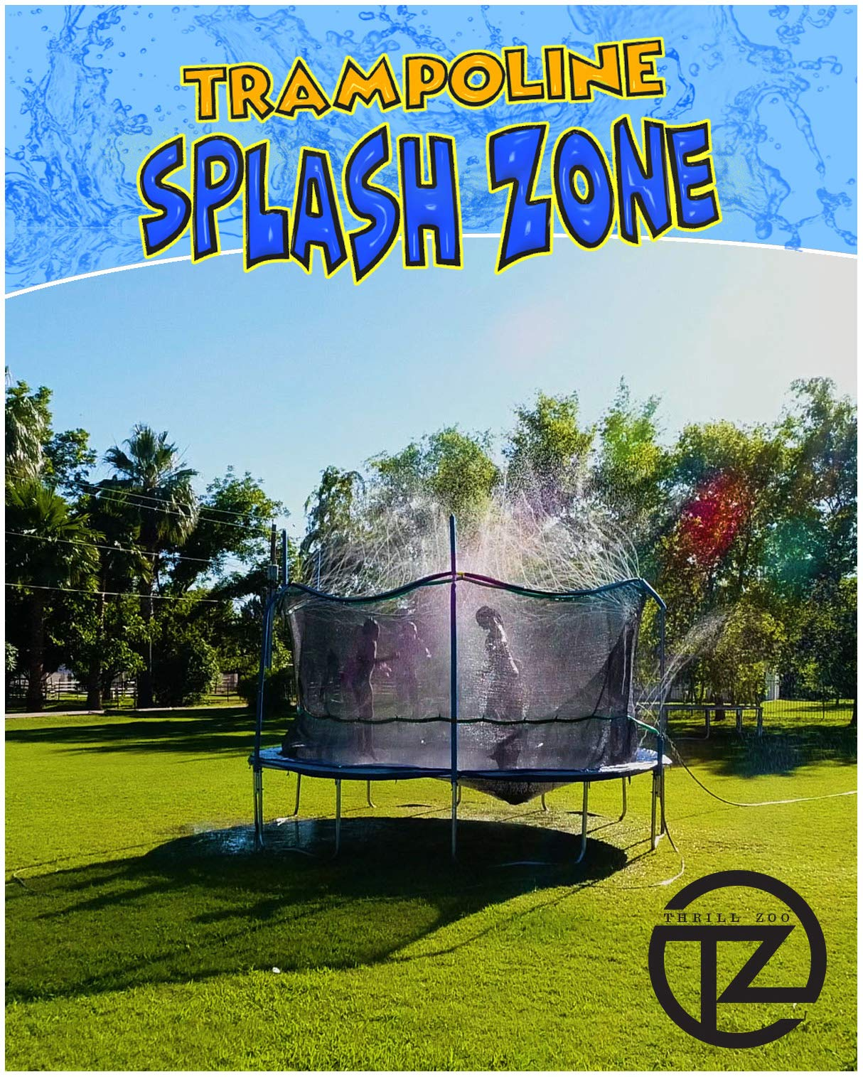 ThrillZoo Trampoline SplashZone - Kids Fun Summer Outdoor Water Park Game Sprinkler - Waterpark Toys for Boys Girls and Adults - Accessories Included - Toy Attaches on Safety Net Enclosure by ThrillZoo