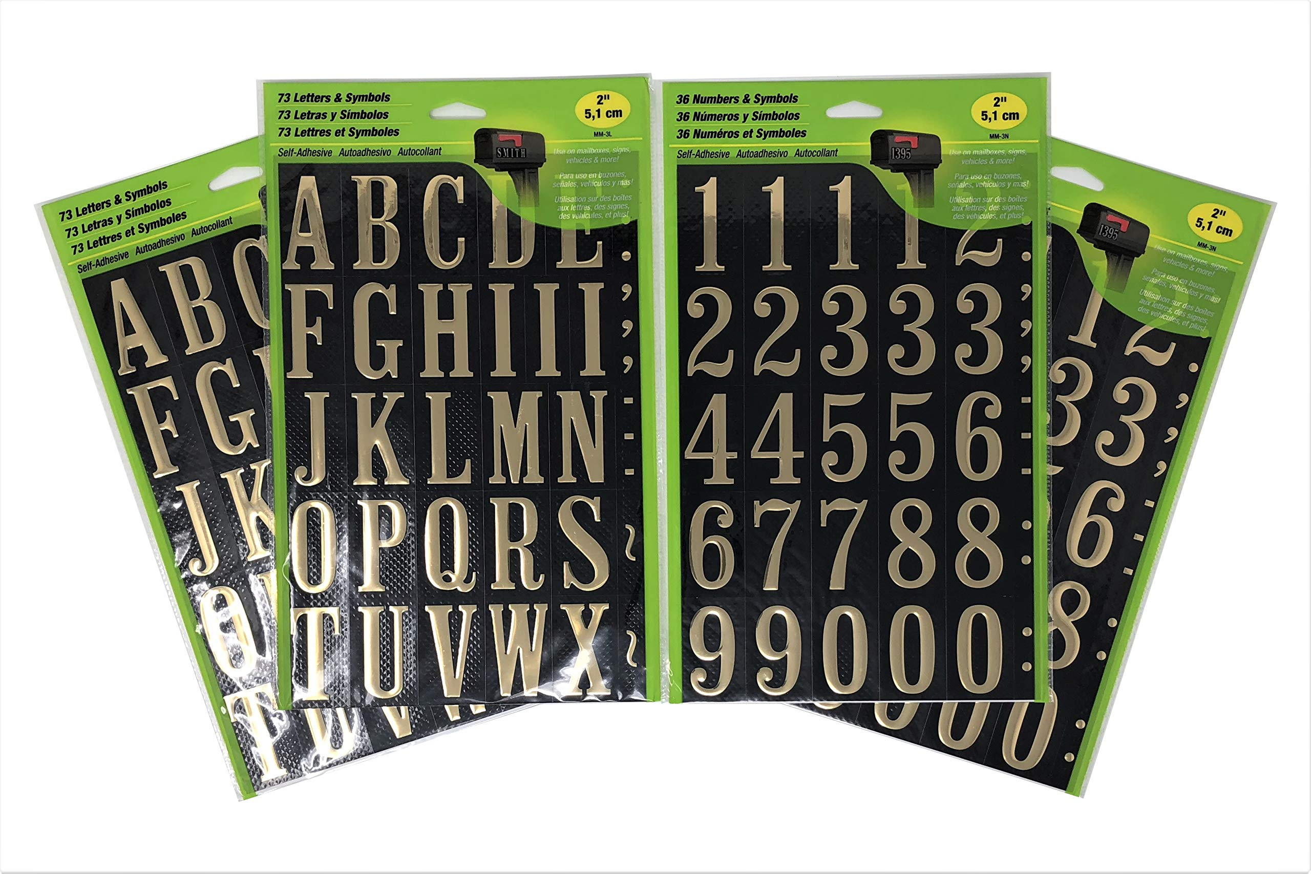 HY-KO Self-Adhesive 2'' Black and Gold Vinyl Numbers (2-Pack) and Letters (2-Pack) Bundle