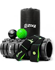 Zizz Fit Foam Roller Muscle Massage Set For Instant Pain Relief Of Back, Legs & Body. Includes Foam Roller, Massage Balls, Resistance Band, Printed Exercise Guides and FREE Travel Bag!
