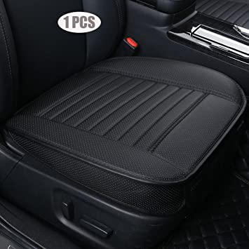 Car Seat Cushion Cover PU Breathable 2pc Car Interior Black with Gray Universal Seat Cover 0.5 Thickness for Sedan Truck SUV Minivan Edge Wrapping