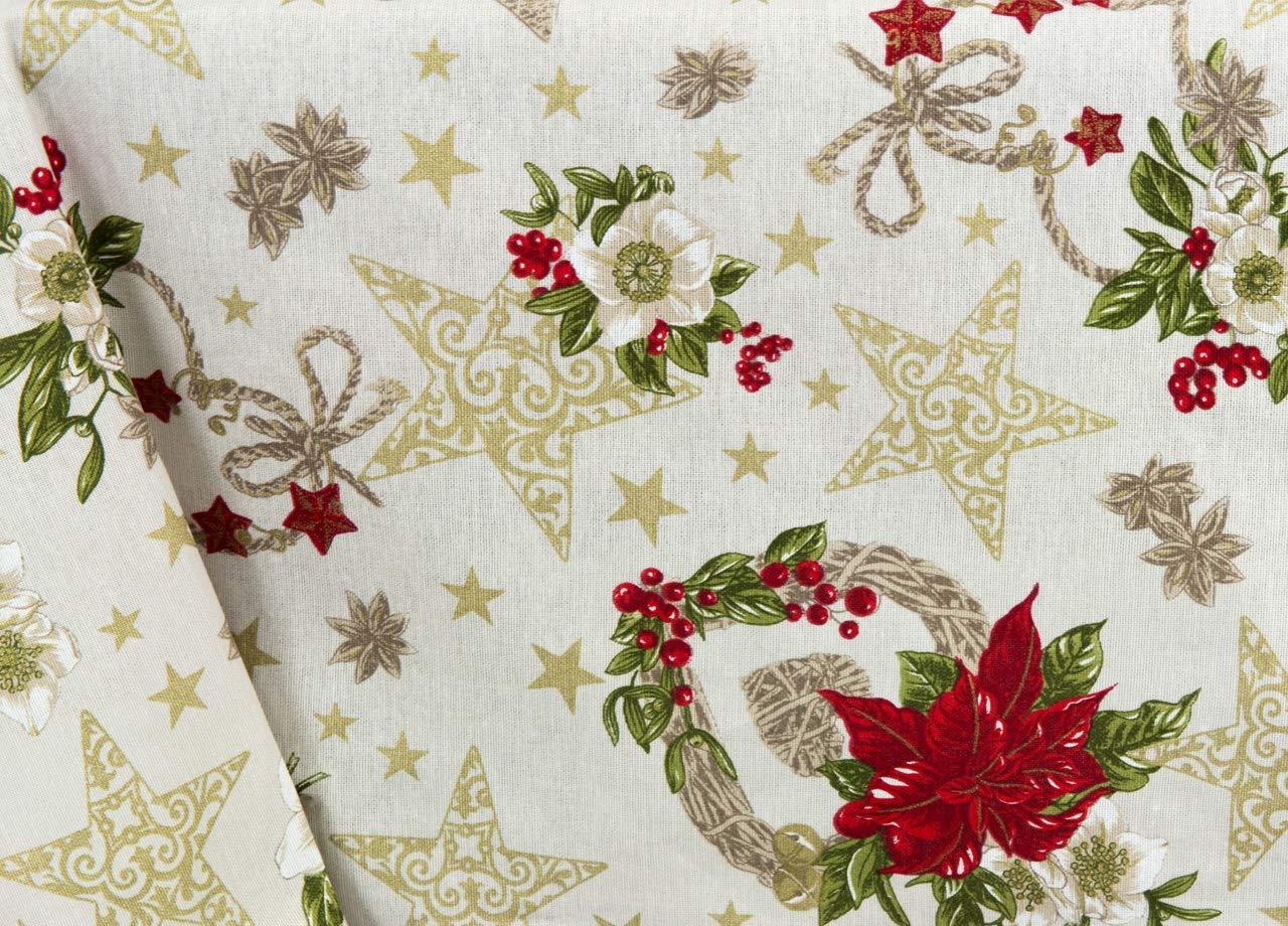 BIANCHERIAWEB Tovaglia Natalizia in Cotone Disegno Anis Colore Naturale 90x90 Naturale