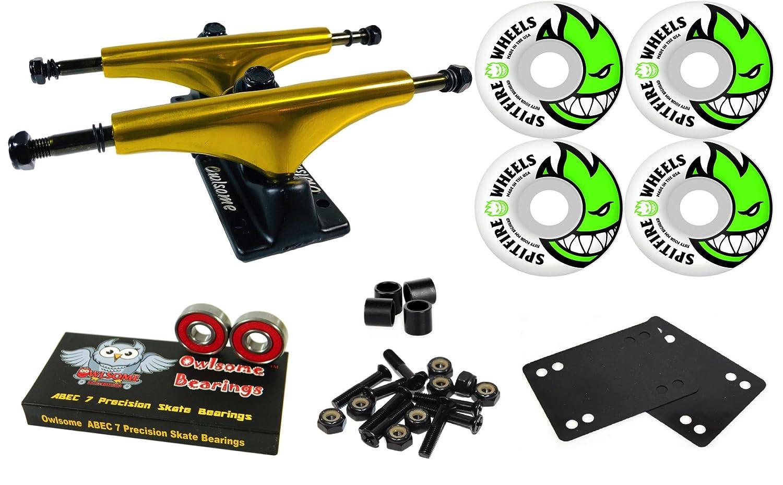 Owlsome 5.25メタリックゴールド/ブラックアルミニウムスケートボードトラックSpitfire Bighead 53 mmホイールコンボセット   B07CKCG2Y4