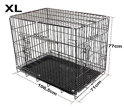 Jaula para perros (Metal, 2 puertos Transportín Cachorros plegable ...